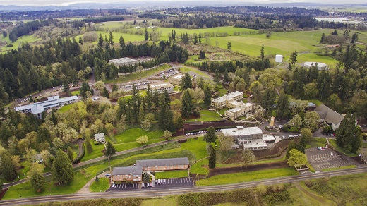 Aerial view of Corban University campus