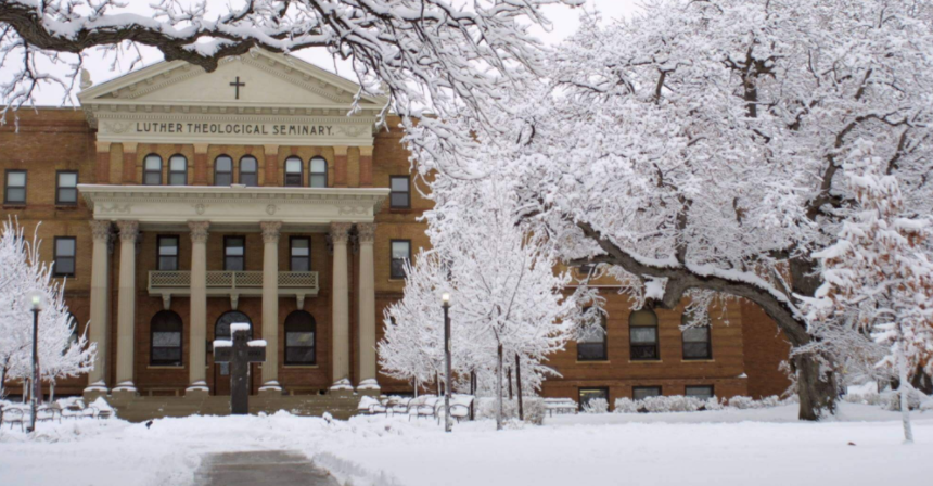 Luther Seminary campus in winter