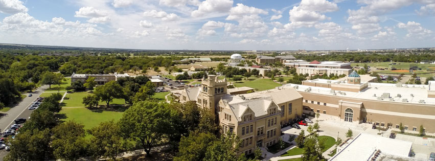 Aerial view of Southwestern Assemblies of God University campus