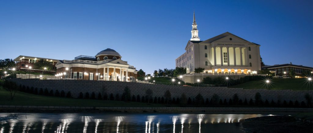 Dallas Baptist University campus at night